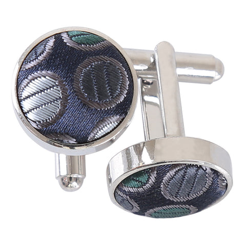 Chequered Polka Dot Cufflinks - Silver, Grey & Green