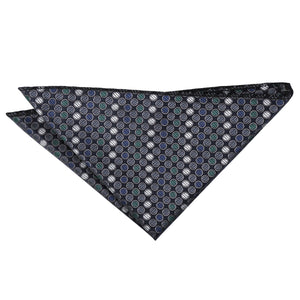 Chequered Polka Dot Handkerchief - Silver, Grey & Green