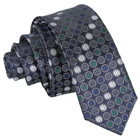 Chequered Polka Dot Skinny Tie - Silver, Grey & Green