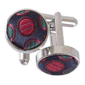Chequered Polka Dot Cufflinks - Silver, Red & Gold