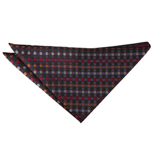 Chequered Polka Dot Handkerchief - Silver, Red & Gold