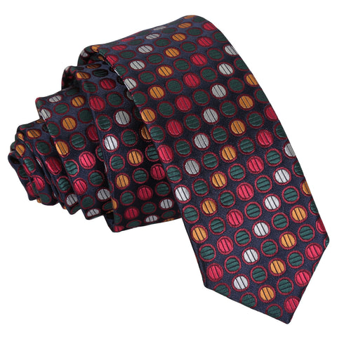 Chequered Polka Dot Skinny Tie - Silver, Red & Gold