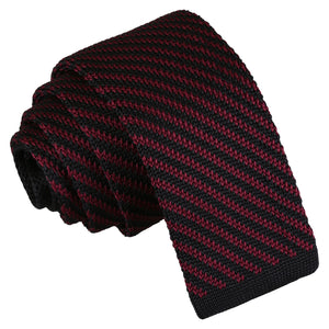 Diagonal Stripe Knitted Skinny Tie - Black & Burgundy