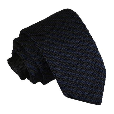 Diagonal Stripe Knitted Slim Tie - Black & Navy