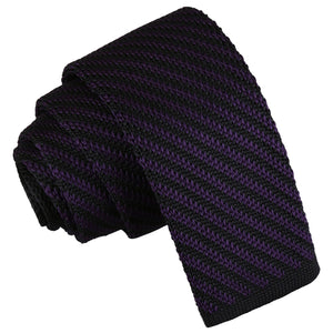 Diagonal Stripe Knitted Skinny Tie - Black & Purple