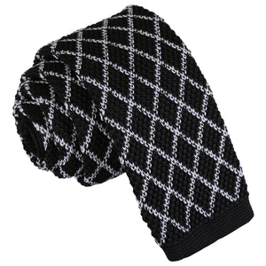 Diamond Grid Knitted Skinny Tie - White & Black
