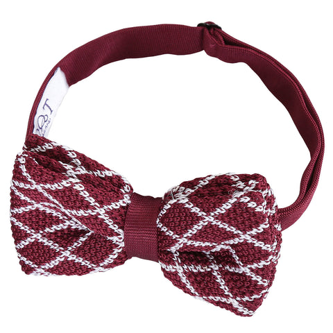 Diamond Grid Knitted Pre-Tied Bow Tie - White & Burgundy