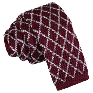Diamond Grid Knitted Skinny Tie - White & Burgundy