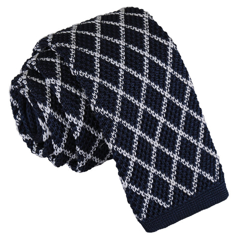 Diamond Grid Knitted Skinny Tie - White & Navy