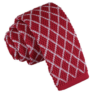 Diamond Grid Knitted Skinny Tie - White & Red