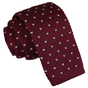 Flecked V Polka Dot Knitted Skinny Tie - Burgundy