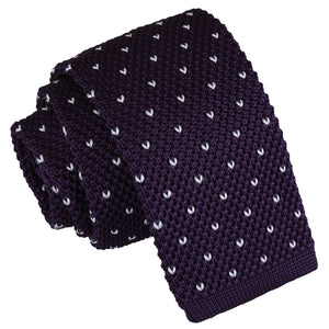 Flecked V Polka Dot Knitted Skinny Tie - Cadbury Purple