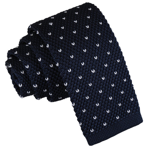 Flecked V Polka Dot Knitted Skinny Tie - Midnight Blue