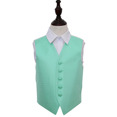 TiesDirect.co.uk - Greek Key Waistcoat - Boys Colour mint-green