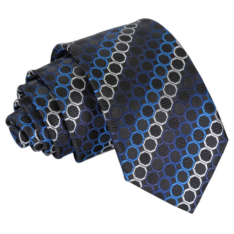Honeycomb Polka Dot Slim Tie - Black, Blue & Silver
