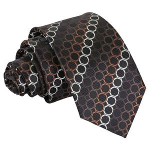 Honeycomb Polka Dot Slim Tie - Black, Brown & Silver
