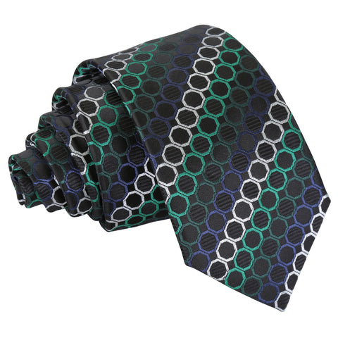 Honeycomb Polka Dot Slim Tie - Black, Green & Silver