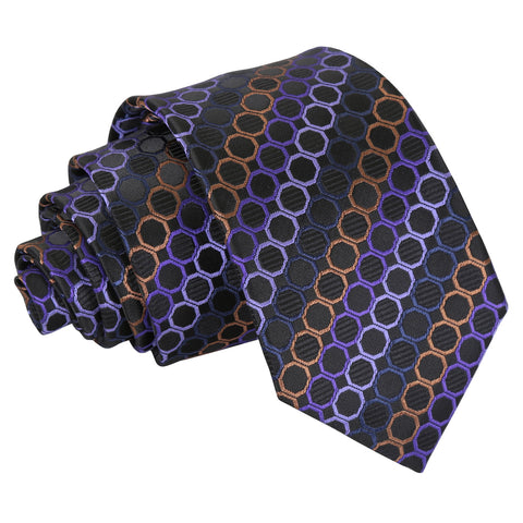 Honeycomb Polka Dot Slim Tie - Black, Purple & Bronze
