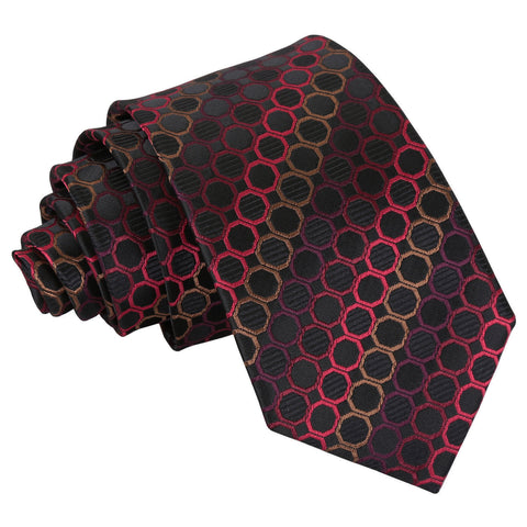 Honeycomb Polka Dot Slim Tie - Black, Red & Bronze