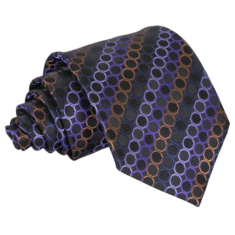 Honeycomb Polka Dot Classic Tie - Black, Purple & Bronze