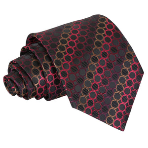 Honeycomb Polka Dot Classic Tie - Black, Red & Bronze