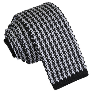 Houndstooth Knitted Skinny Tie - White & Black