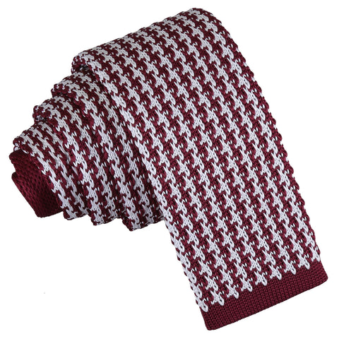 Houndstooth Knitted Skinny Tie - White & Burgundy