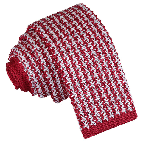 Houndstooth Knitted Skinny Tie - White & Red