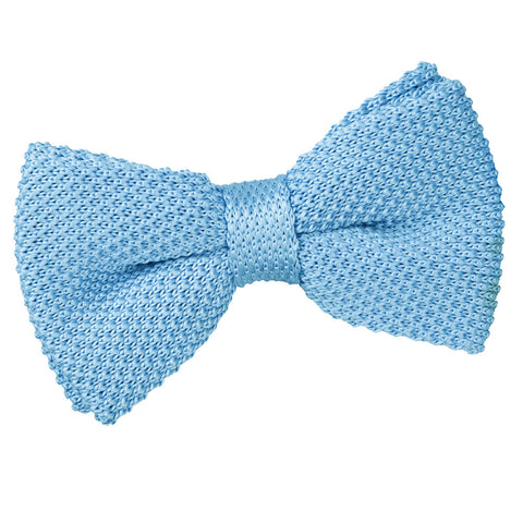 TiesDirect.co.uk - Plain Knitted Pre-Tied Bow Tie Colour baby-blue
