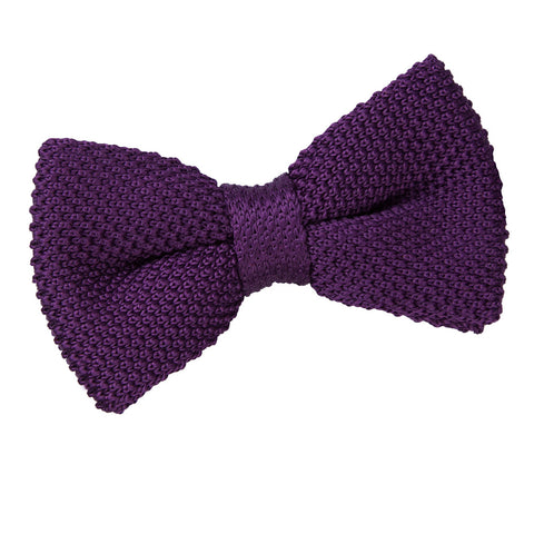 TiesDirect.co.uk - Plain Knitted Pre-Tied Bow Tie Colour cadbury-purple