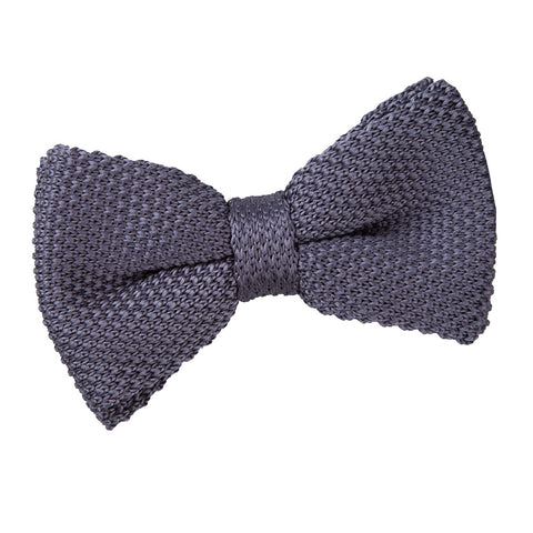 TiesDirect.co.uk - Plain Knitted Pre-Tied Bow Tie Colour charcoal