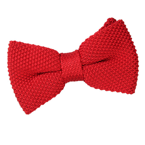 TiesDirect.co.uk - Plain Knitted Pre-Tied Bow Tie Colour crimson-red
