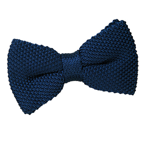 TiesDirect.co.uk - Plain Knitted Pre-Tied Bow Tie Colour navy-blue
