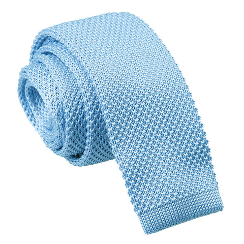 TiesDirect.co.uk - Plain Knitted Skinny Tie Colour baby-blue