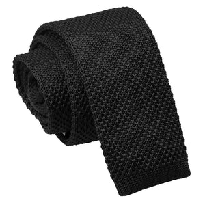 TiesDirect.co.uk - Plain Knitted Skinny Tie Colour black