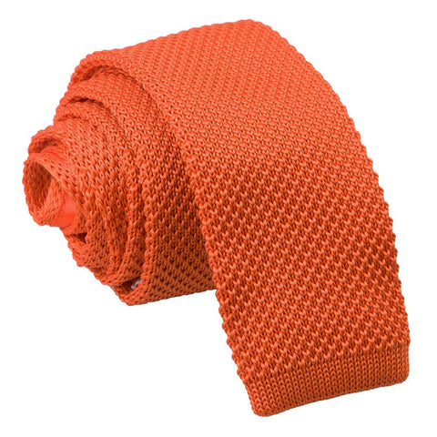 TiesDirect.co.uk - Plain Knitted Skinny Tie Colour burnt-orange