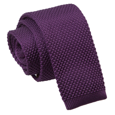 TiesDirect.co.uk - Plain Knitted Skinny Tie Colour cadbury-purple