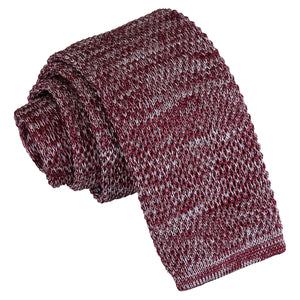 Melange Plain Speckled Knitted Skinny Tie - Burgundy