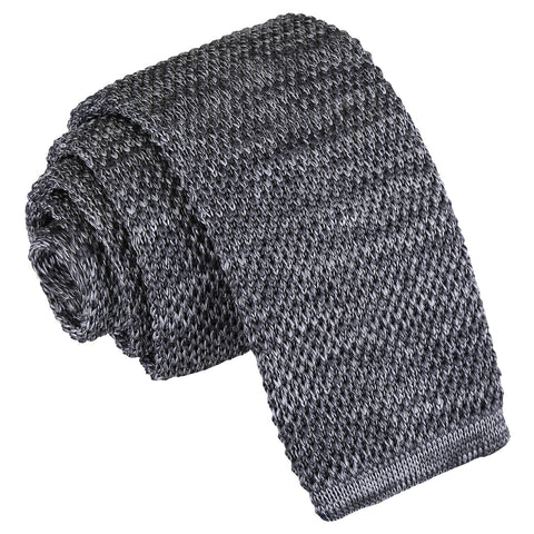 Melange Plain Speckled Knitted Skinny Tie - Grey