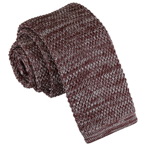 Melange Plain Speckled Knitted Skinny Tie - Mocha Brown