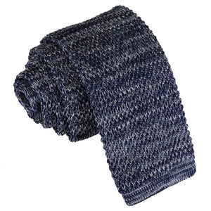 Melange Plain Speckled Knitted Skinny Tie - Navy