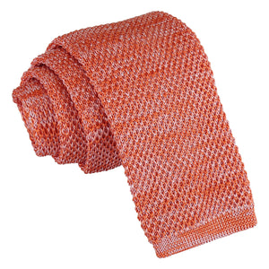 Melange Plain Speckled Knitted Skinny Tie - Orange