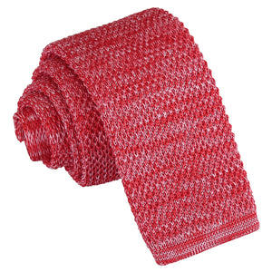 Melange Plain Speckled Knitted Skinny Tie - Red
