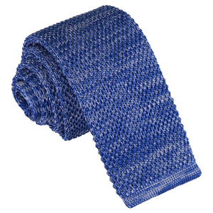 Melange Plain Speckled Knitted Skinny Tie - Royal Blue