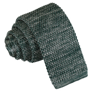 Melange Plain Speckled Knitted Skinny Tie - Teal