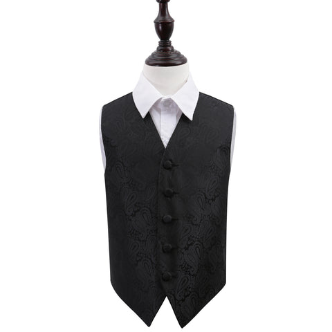 TiesDirect.co.uk - Paisley Waistcoat - Boys Colour black