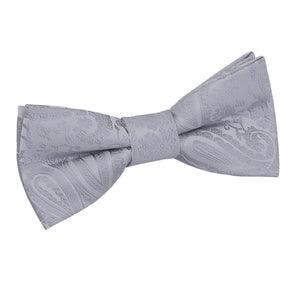TiesDirect.co.uk - Paisley Pre-Tied Bow Tie - Boys Colour silver
