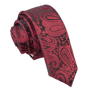TiesDirect.co.uk - Paisley Skinny Tie Colour burgundy