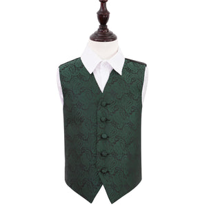 TiesDirect.co.uk - Paisley Waistcoat - Boys Colour emerald-green