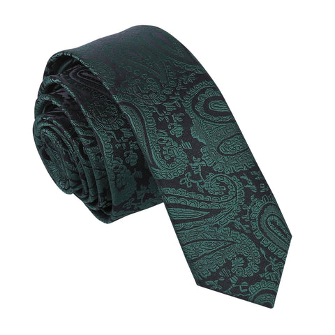 TiesDirect.co.uk - Paisley Skinny Tie Colour emerald-green